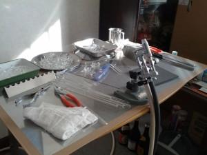 震災後のガラス工房